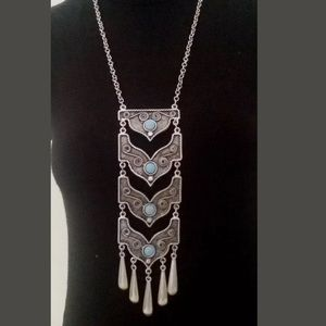 Jewelry - Long Pendant Turkish Silver Plated Necklace